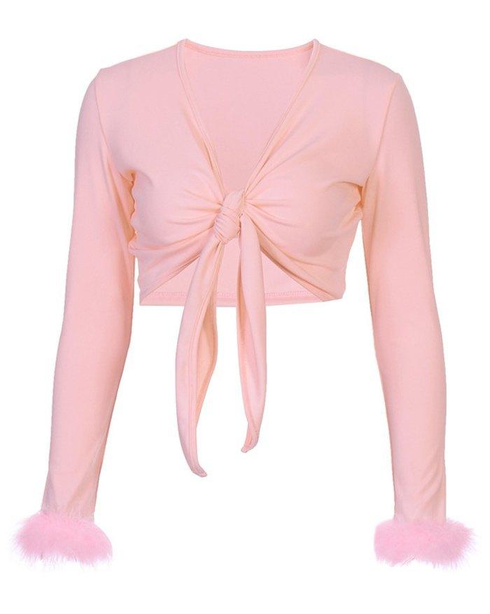 Tied Cropped Plush Top - Pink M