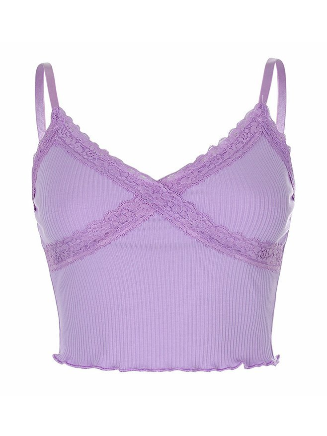Lace Trim Cropped Cami Top - Purple S