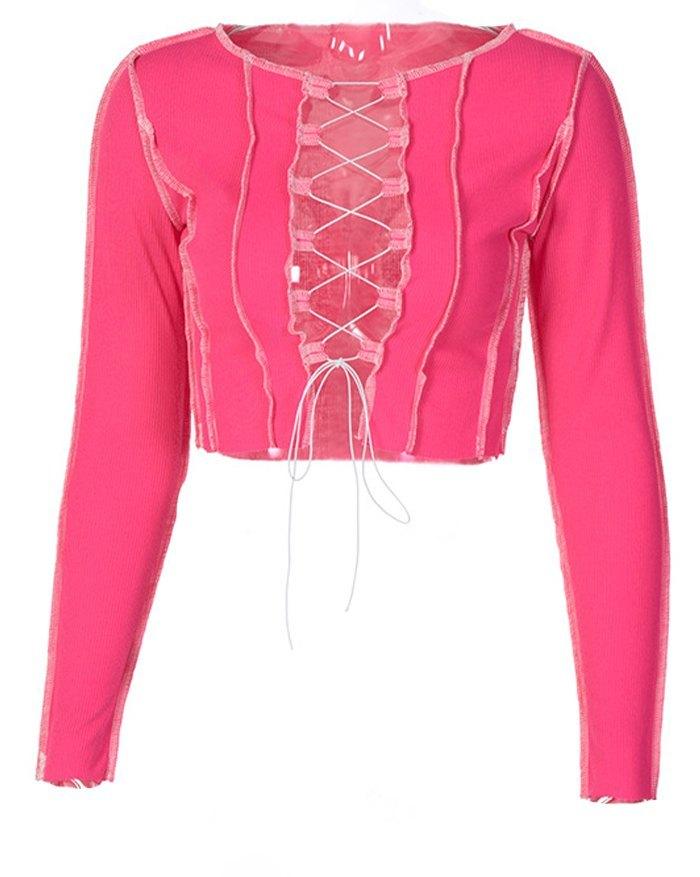Hollow Lace Up Patchwork Knit Top - Beetroot Purple L