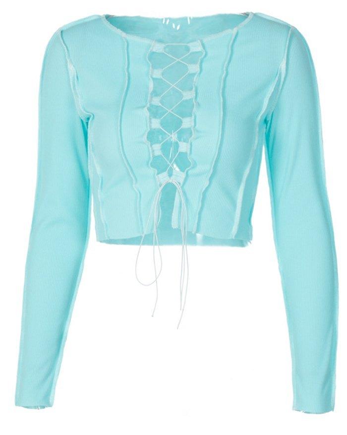 Hollow Lace Up Patchwork Knit Top - Pure Blue L