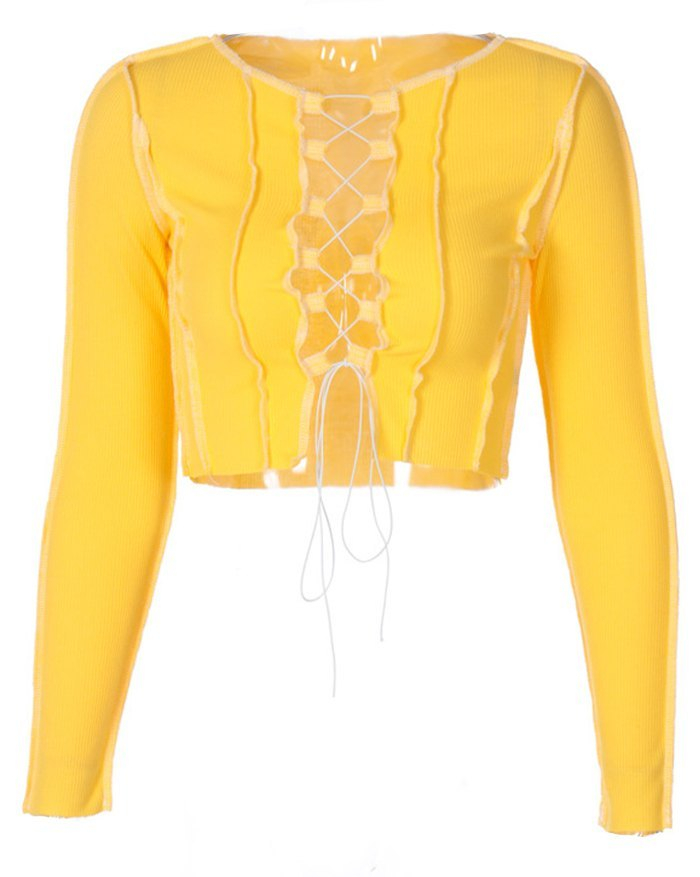 Hollow Lace Up Patchwork Knit Top - Yellow L
