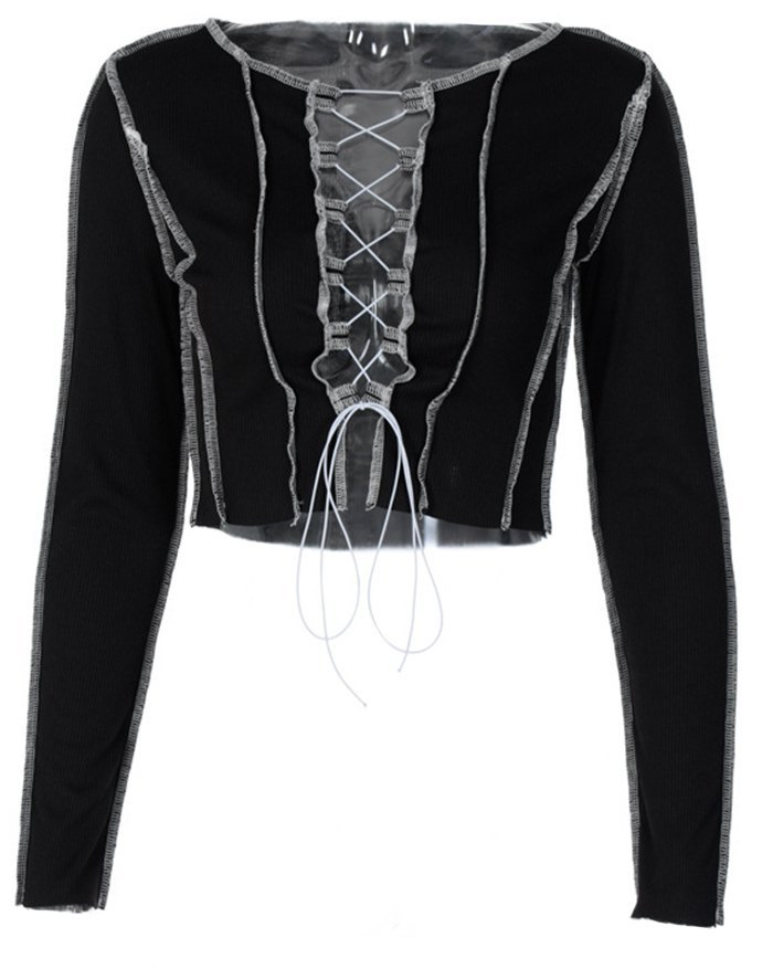 Hollow Lace Up Patchwork Knit Top - Black S