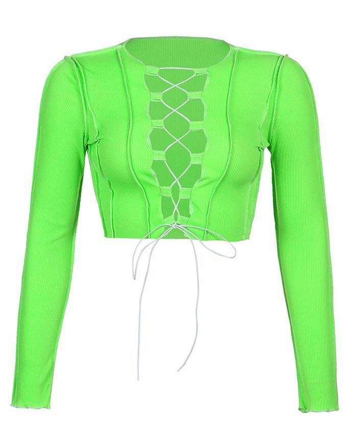 Hollow Lace Up Patchwork Knit Top - Green L