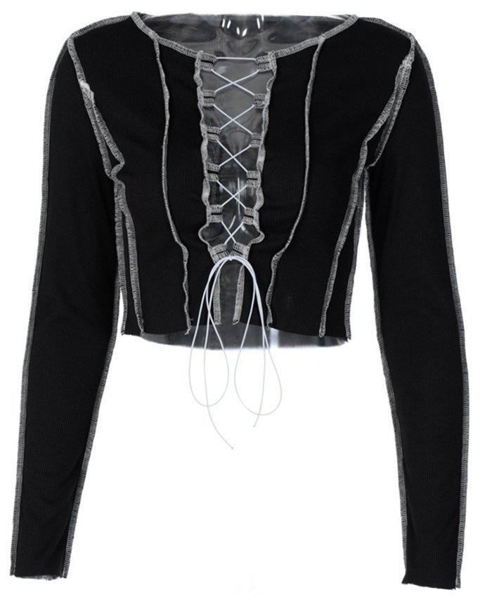 Hollow Lace Up Patchwork Knit Top - Black L