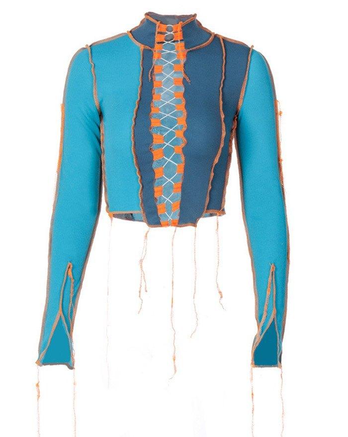 Patchwork Hollow Lace Up Knit Top - Blue L