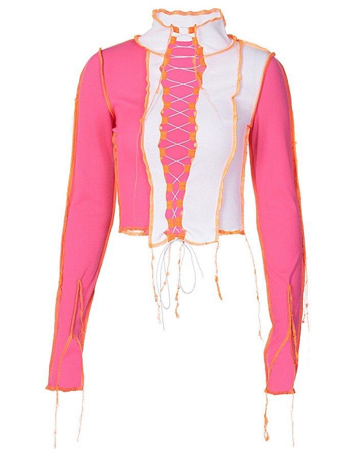 Patchwork Hollow Lace Up Knit Top - Beetroot Purple L