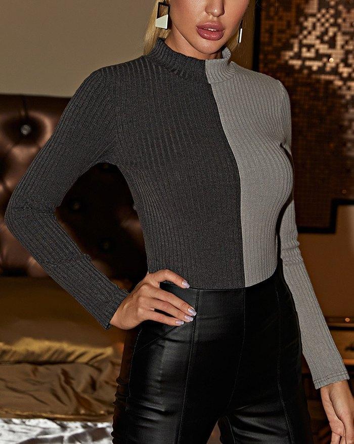 Long Sleeve Patchwork Slim Knit - Gray XS