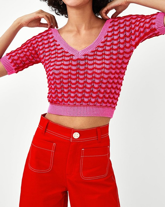 Crocheted Hollow Cropped Knit - Beetroot Purple S