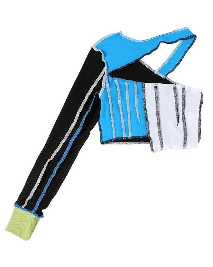 Contrast Patchwork Cutout Cropped Knit - Blue M