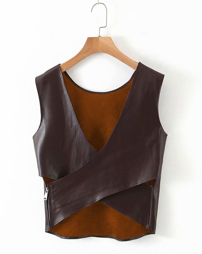 Faux Leather Cross Tank Top - Brown S