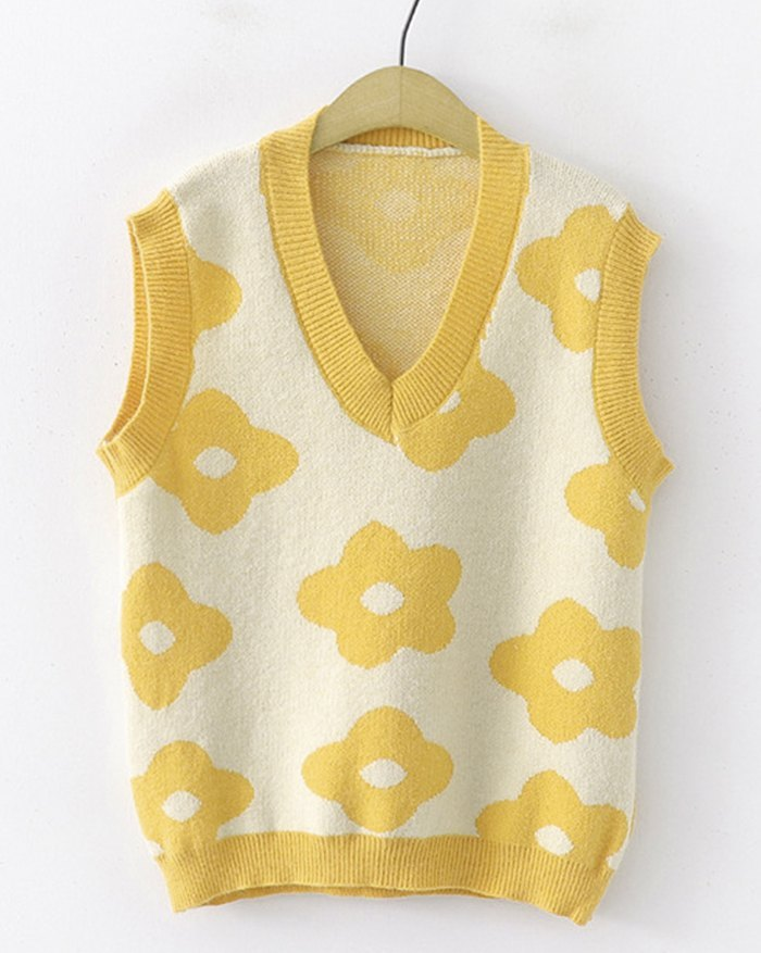Floral Print Jacquard Sweater Vest - Yellow M