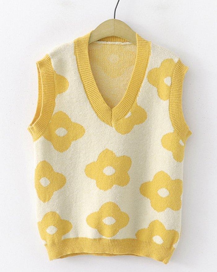 Floral Print Jacquard Sweater Vest -