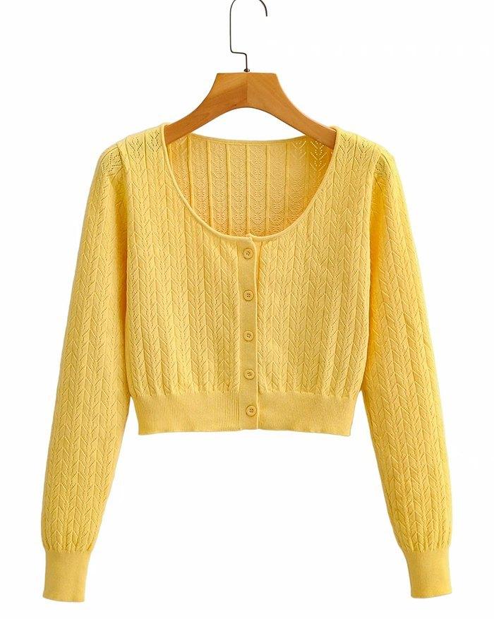 Crochet Hollow Knit - Yellow S