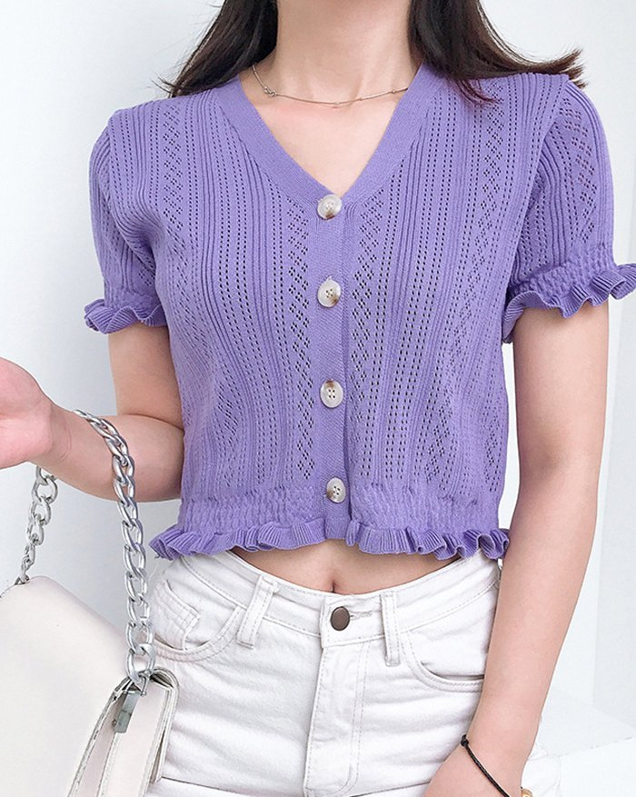 Hollow Out Solid Knit - Lilac S