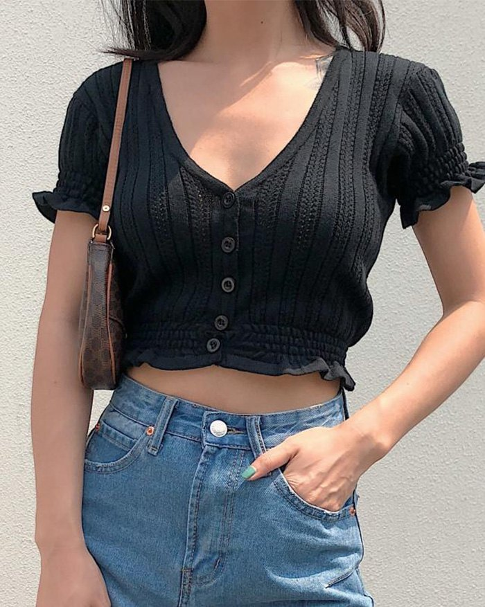 Hollow Out Solid Knit - Black L