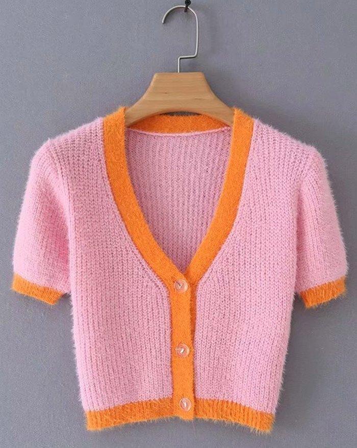 Contrast Vintage Patchwork Cardigan - Pink S