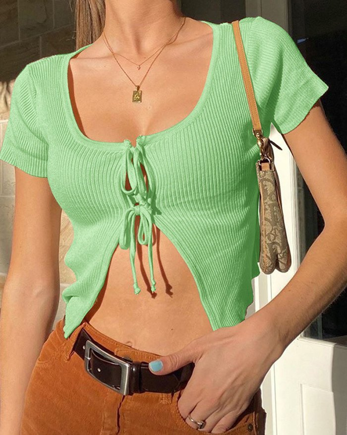 Bow Tie Stitching Cropped Knit - Green S