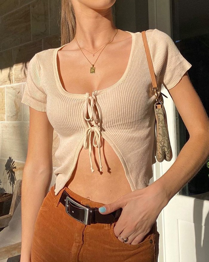 Bow Tie Stitching Cropped Knit - Beige S