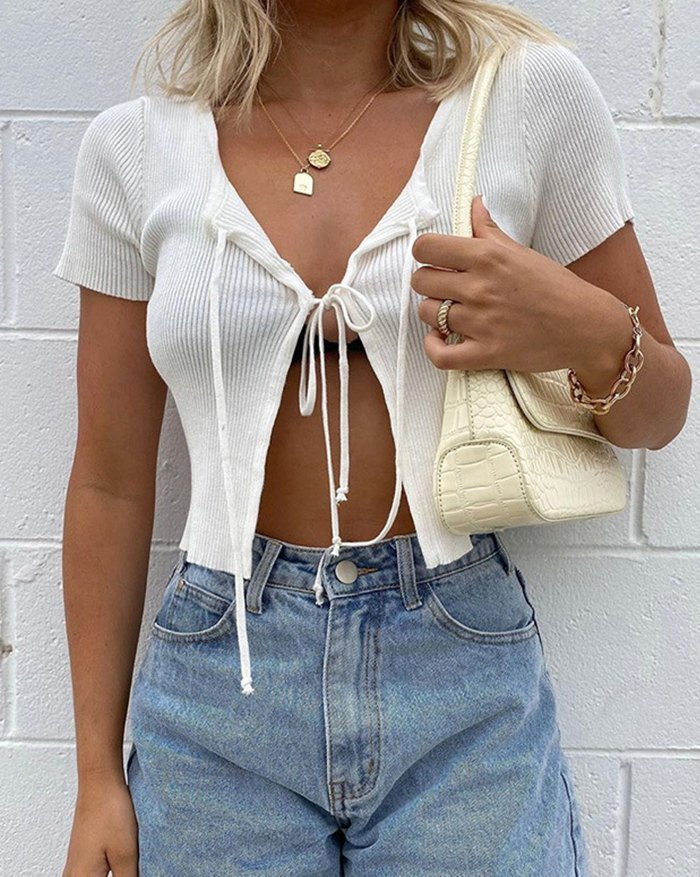 Bow Tie Stitching Cropped Knit - White M
