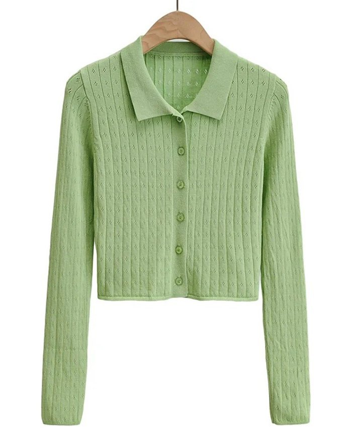 Hollow Out Solid Knit - Green S