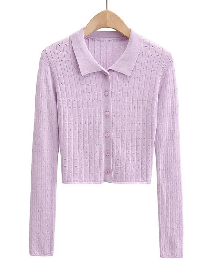 Hollow Out Solid Knit - Lilac M