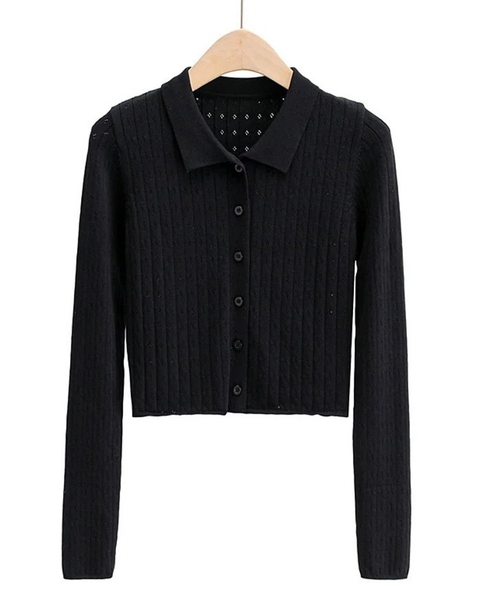 Hollow Out Solid Knit - Black S