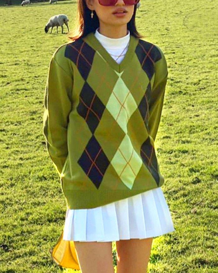 Vintage Argyle Knit Sweater - Green S