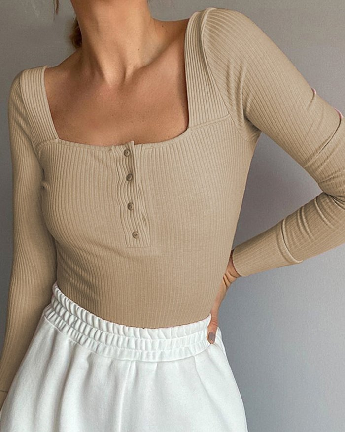 Ribbed Button Bodysuit - Camel M