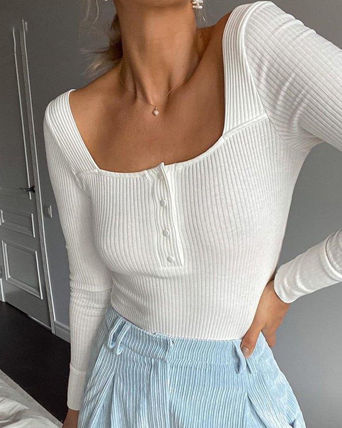 Ribbed Button Bodysuit - White M