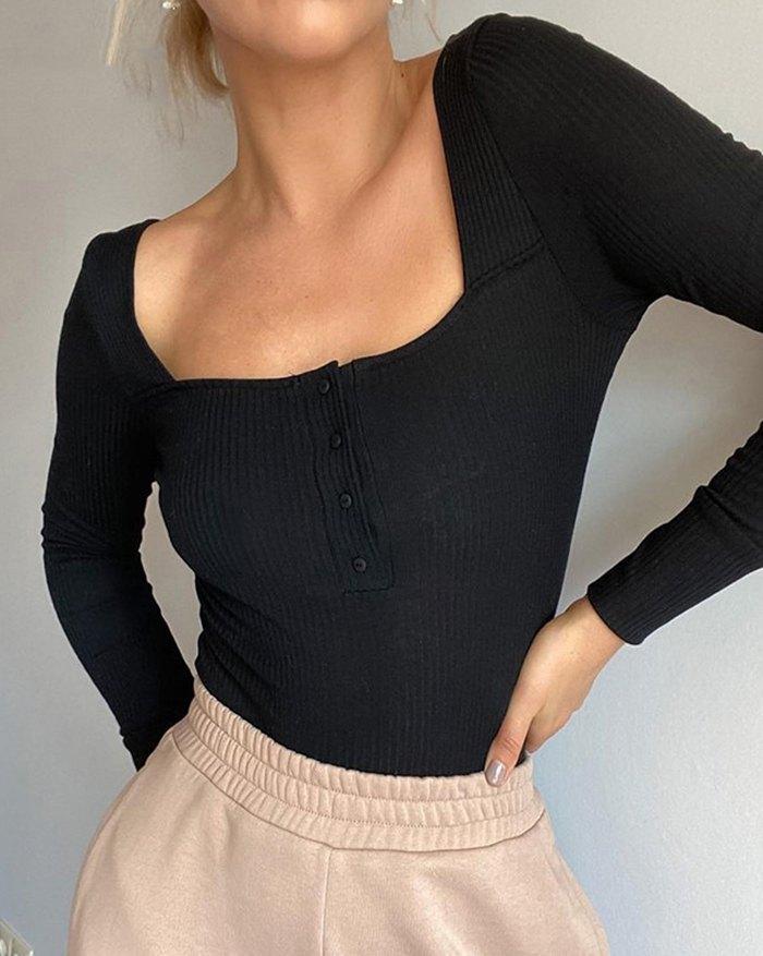 Ribbed Button Bodysuit - Black S