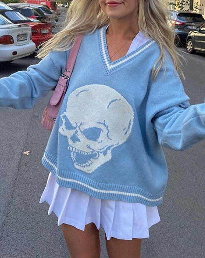 Preppy Halloween Skull Print Sweater - Pure Blue M