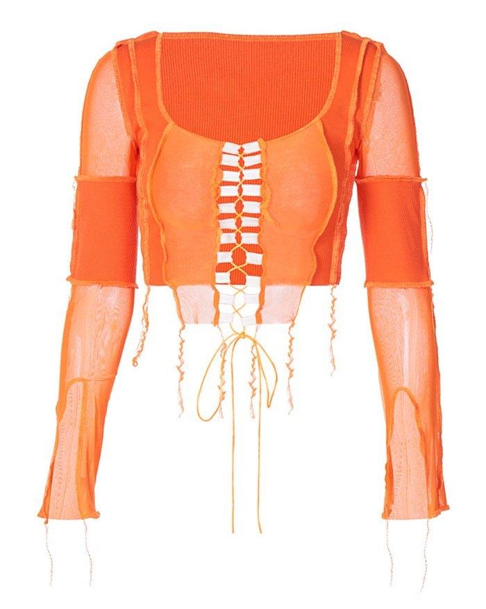 Patchwork Mesh Lace-up Knit - Orange S