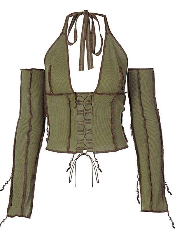 Patchwork Lace-up Halter Knit Top - Chive L