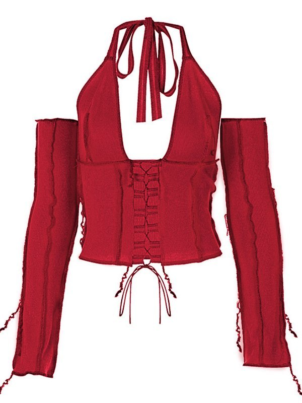 Patchwork Lace-up Halter Knit Top - Red M
