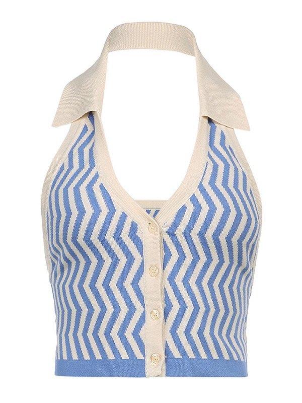Chevron Sleeveless Vintage Halter Knit - Blue L