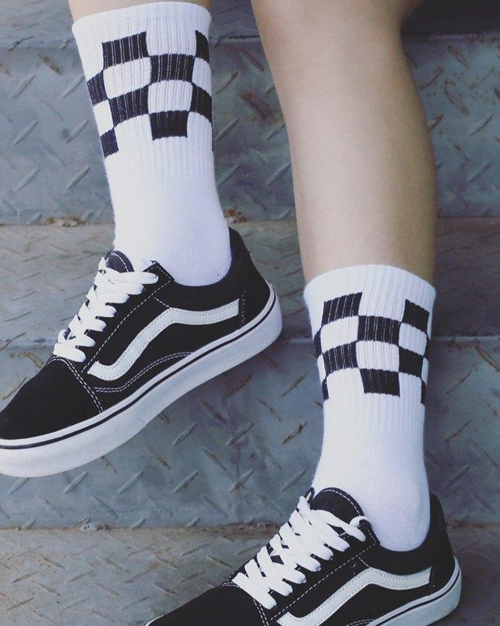 Chaussettes à imprimé damier - Blanc ONE SIZE