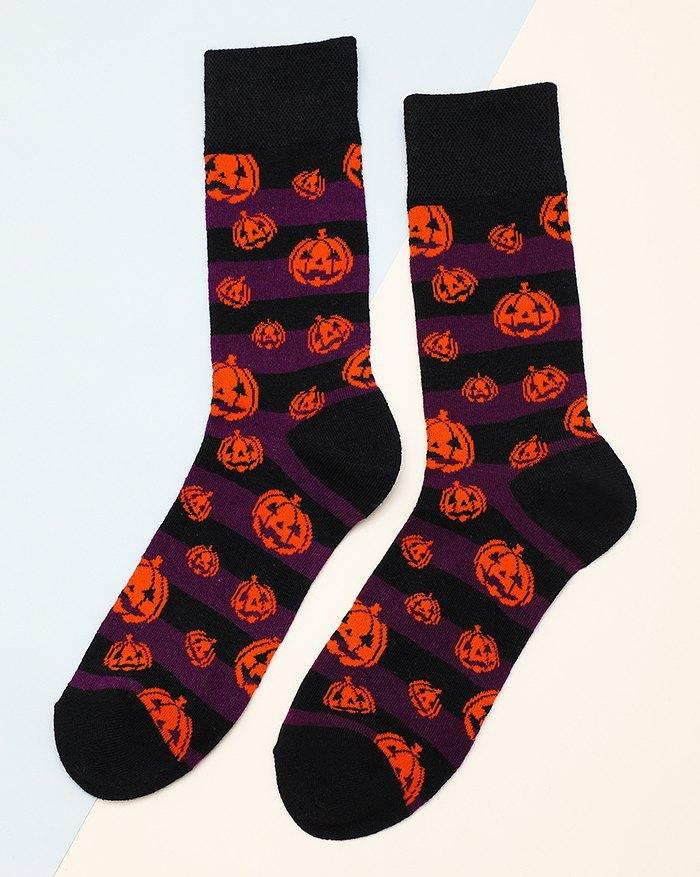 Calzini con stampa a righe di zucca di Halloween - Nero ONE SIZE