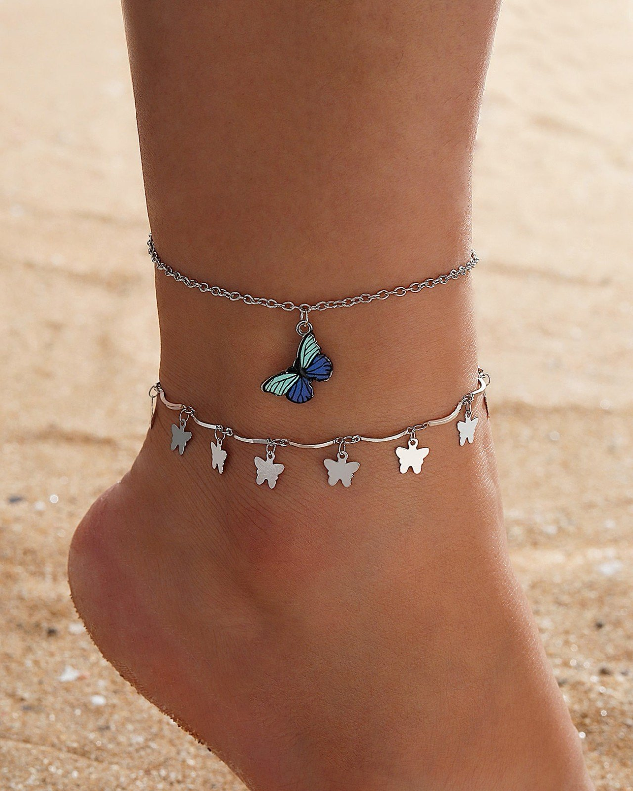 Butterfly Pendant  Anklets -