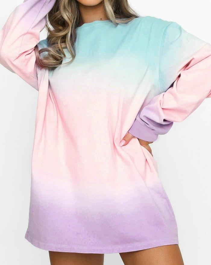 Tie Dye Casual Mini Dress -
