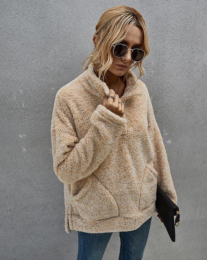 Mid-length Plush Pullover Sweatshirt - Beige S