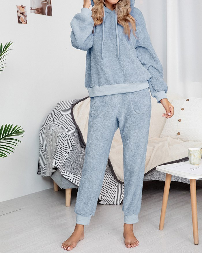 Solid Hooded Two-Piece Lounge Set -