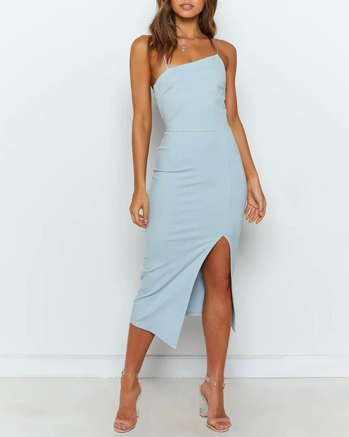 Front Slit Sling Midi Dress - Blue M