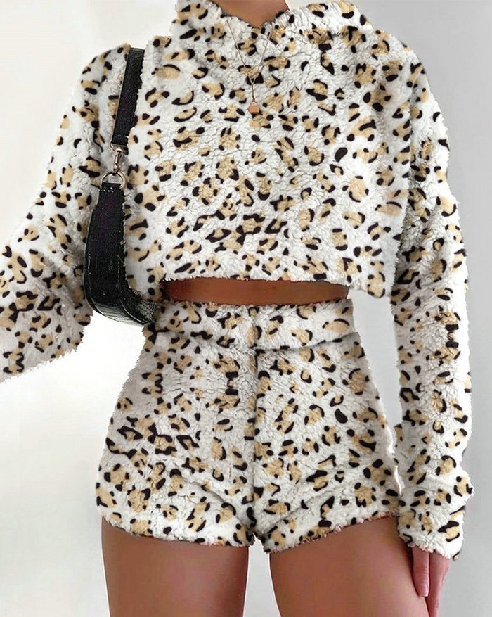 Solid Plush Hoodie With Shorts Lounge Set - Leopard Print S