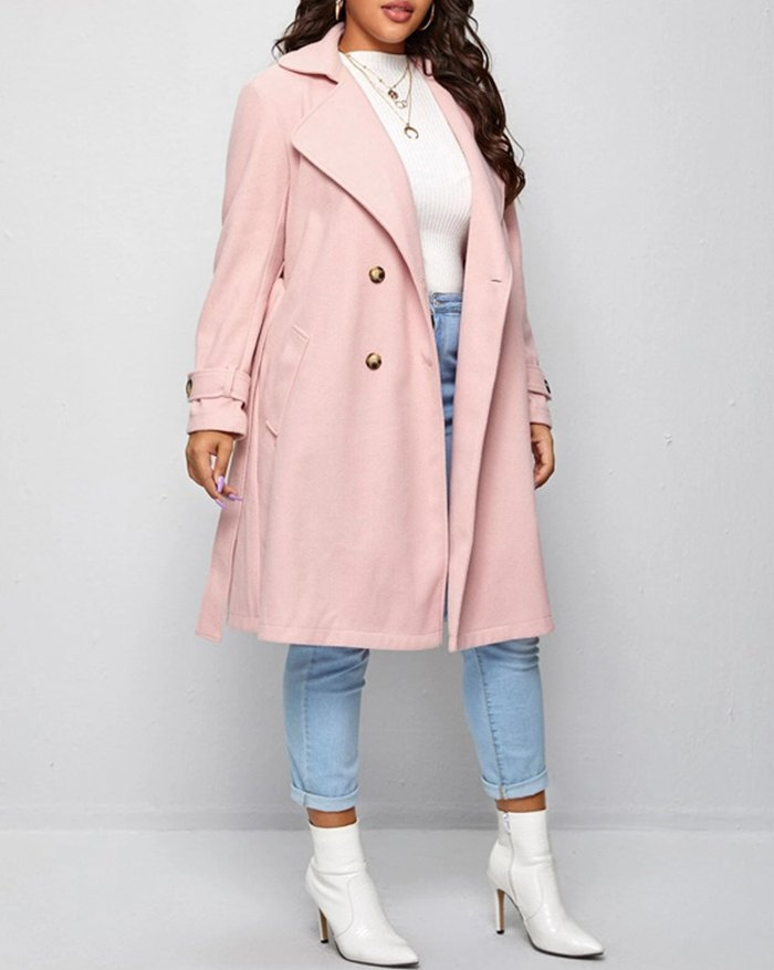 Plus Size Double-breasted Belted Duffle - Pink L