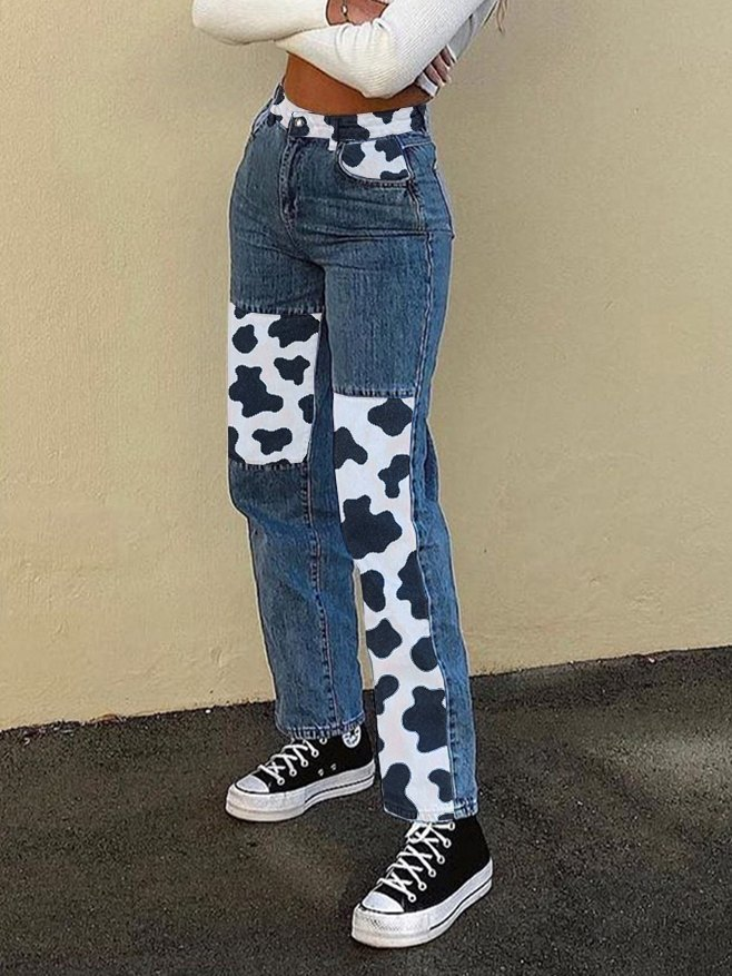 Cow Print Contrast Patchwork Straight-Leg Jeans - As The Picture S
