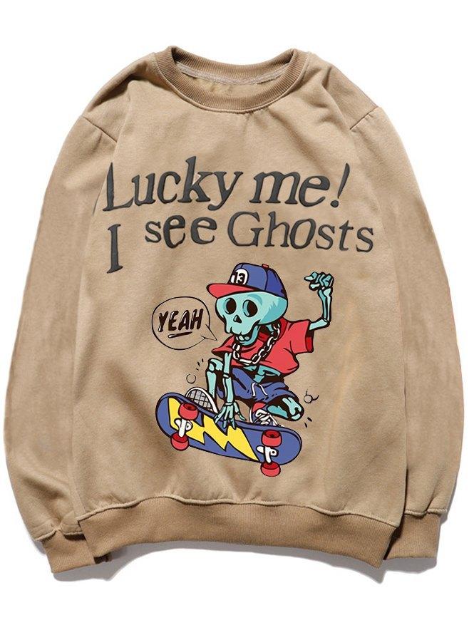 Sweatshirt de skateboard squelette Halloween Dabbing drôle pour homme -