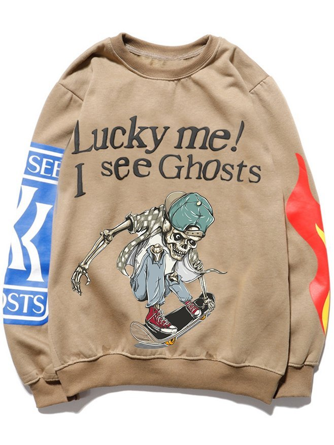 Sweatshirt de skateboard squelette Halloween Dabbing drôle pour homme - Kaki M