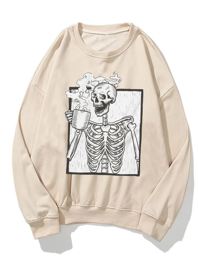 Felpa stampata con scheletro divertente di Halloween da uomo -