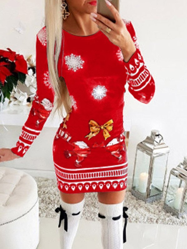 Santa Claus Printed Christmas Mini Dress - Red M