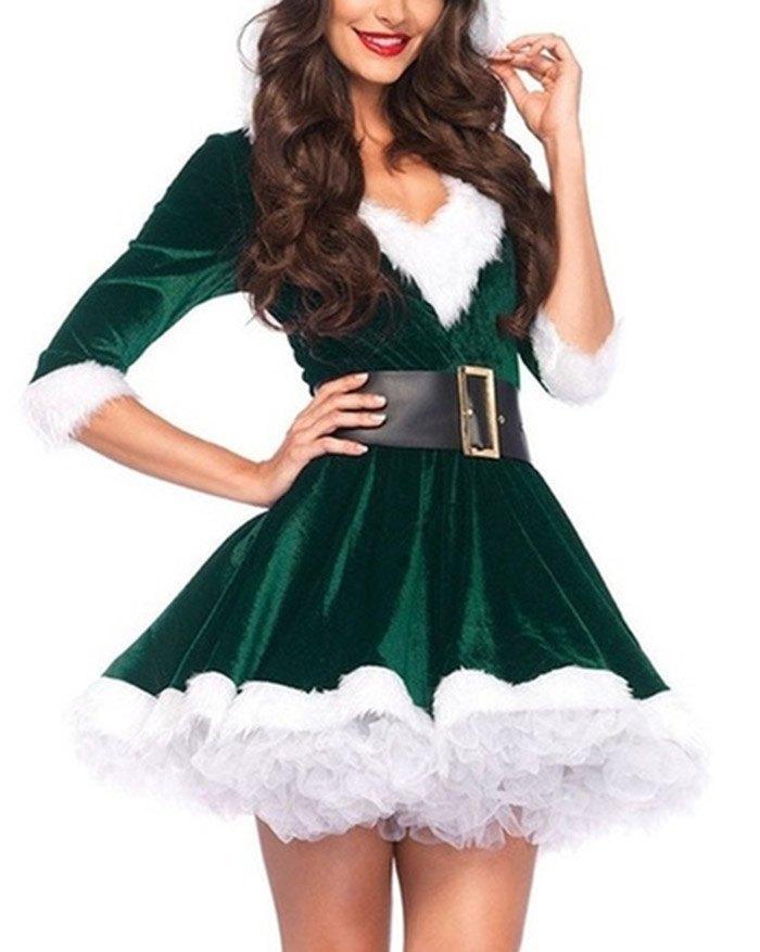 Christmas Party Costume Mini Dress - Green S